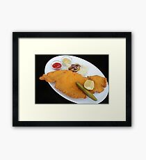 schnitzel, breaded fried meat cutlet of poultry breast  Framed Print