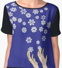 First Snow Night Snowflakes Women's Chiffon Top