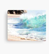Crashing Waves Watercolor Illustration Canvas Print