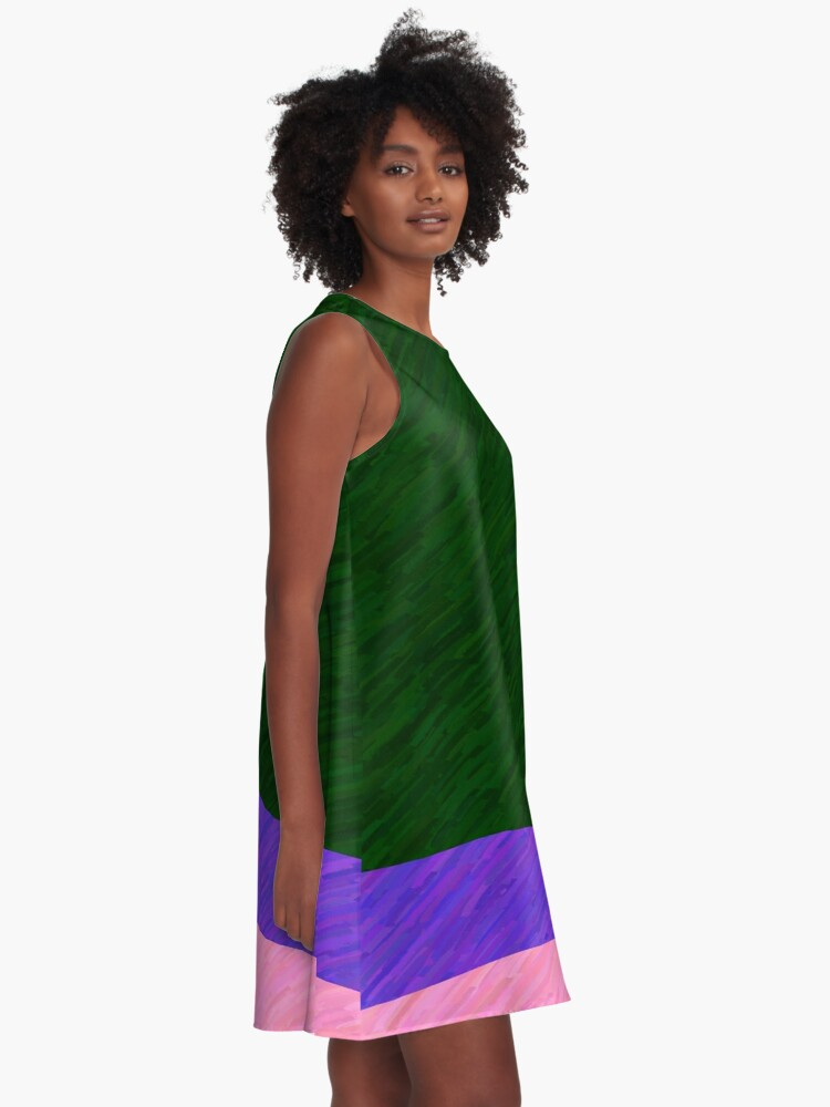 Alternate view of Green, Purple, Pink A-Line Dress