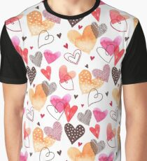 Colorful Cute Hearts Pattern Graphic T-Shirt