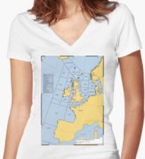 UK Shipping Forecast Map Women's Fitted V-Neck T-Shirt