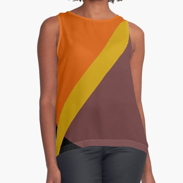 Autumn Colored Design Sleeveless Top