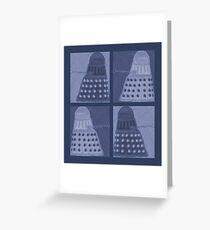 Daleks in negatives - blue Greeting Card