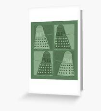 Daleks in negatives - green Greeting Card