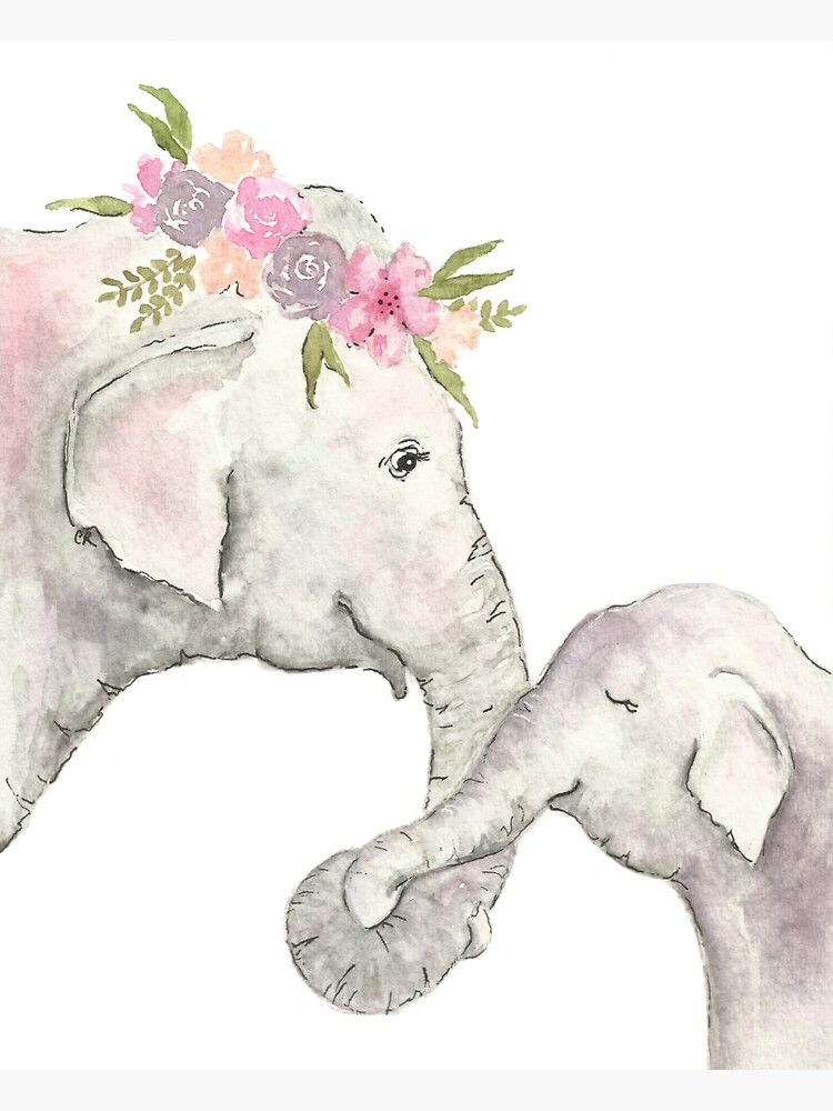 Elephant mother and baby watercolor by christierenfro