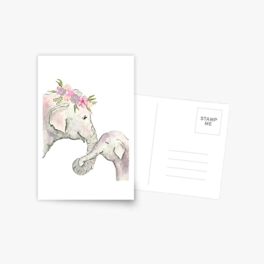 Elefante madre y bebé acuarela Postal