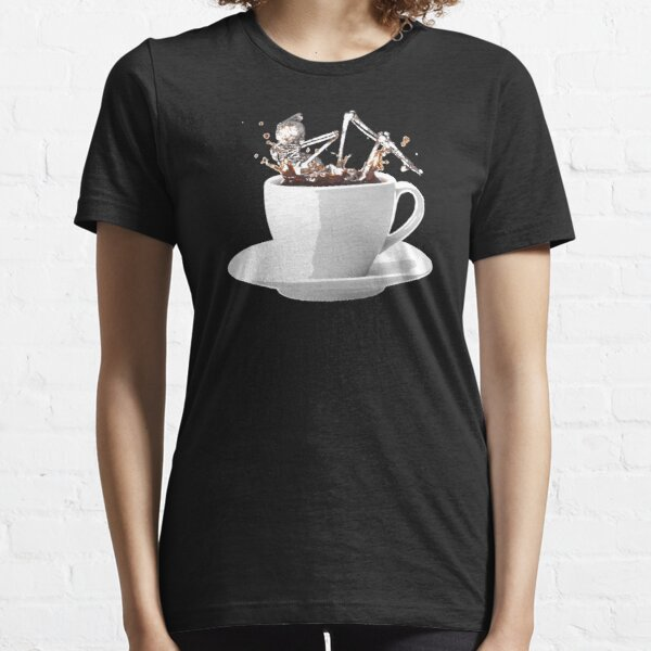 SKELETON JUMPS INTO COFFEE CUP // Coffee wakes the dead Essential T-Shirt
