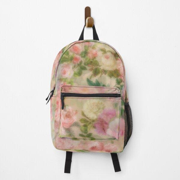 Big Pink Roses Vintage Summertime  Botanical Garden Backpack