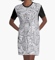 Tropical Parrot - black and white Graphic T-Shirt Dress