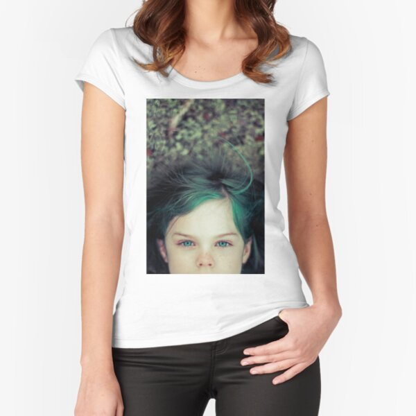 Green Haired Girl Fitted Scoop T-Shirt