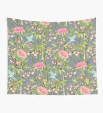 Bamboo, Birds and Blossom - grey Wall Tapestry