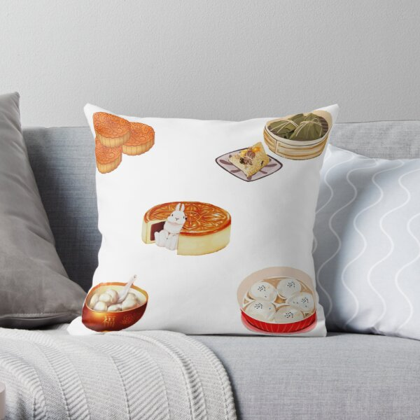 Chinese festival food sticker pack Throw Pillow