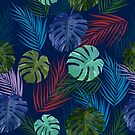 Tropical leaves and flowers of palm tree. by Lusy Rozumna