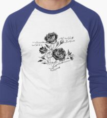 Roses and Love Urdu Poem Calligraphy Men's Baseball ¾ T-Shirt