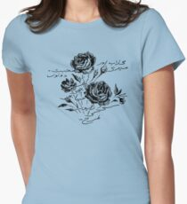 Roses and Love Urdu Poem Calligraphy Fitted T-Shirt