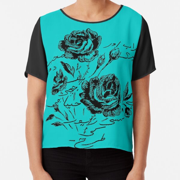 Roses and Love Urdu Poem Calligraphy Chiffon Top