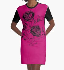 Roses and Love Urdu Poem Calligraphy Graphic T-Shirt Dress