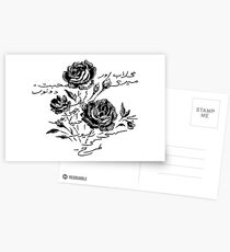 Roses and Love Urdu Poem Calligraphy Postcards