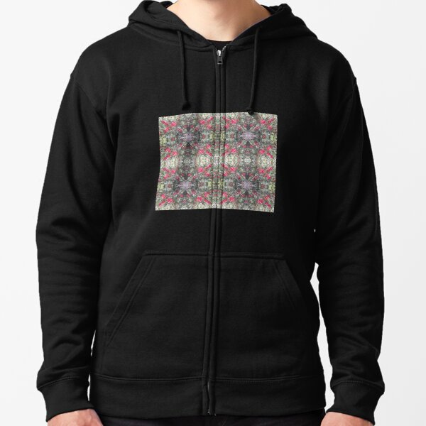 Holly Berry Photo 806 Frieze Fractal Zipped Hoodie
