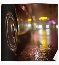 Cars in urban street on rainy night hasselblad medium format analog film photograph Poster