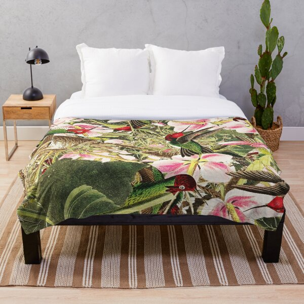 Beautiful Pattern With Birds Flowers, And Leaves Throw Blanket