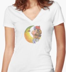 Beautiful Girl with Hummingbird Women's Fitted V-Neck T-Shirt