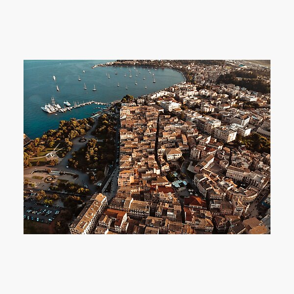 Corfu Greece - Old town from above Photographic Print