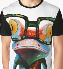 Hipster Frog Nerd Glasses Graphic T-Shirt