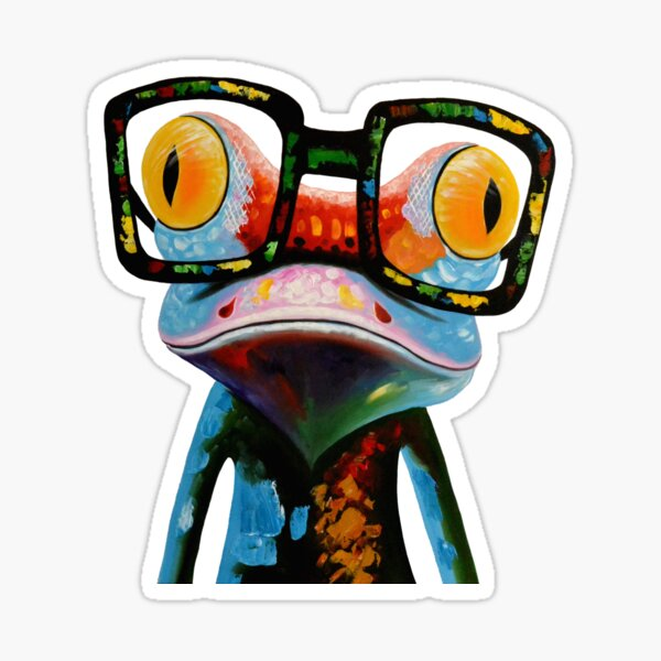 Hipster Frog Nerd Glasses Sticker