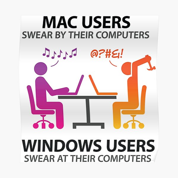 Mac users swear by their computers Poster