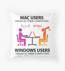 Mac users swear by their computers Throw Pillow