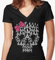 Boston Terrier Sugar Skull Women's Fitted V-Neck T-Shirt