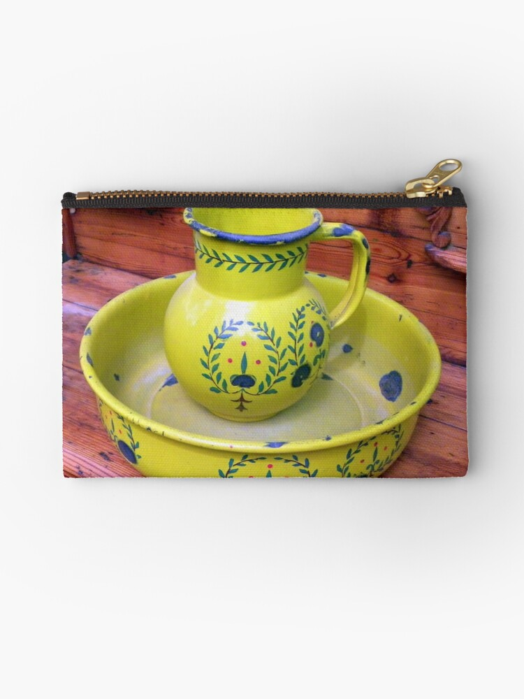 'Old Wash basin/tub and Toilet jug' Zipper Pouch by Pieta Pieterse