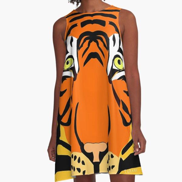 Bengal Tiger portrait,Digital painting. A-Line Dress