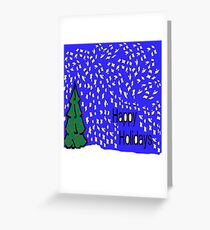 Christmas tree scene with stars and snow XMAS16   Greeting Card