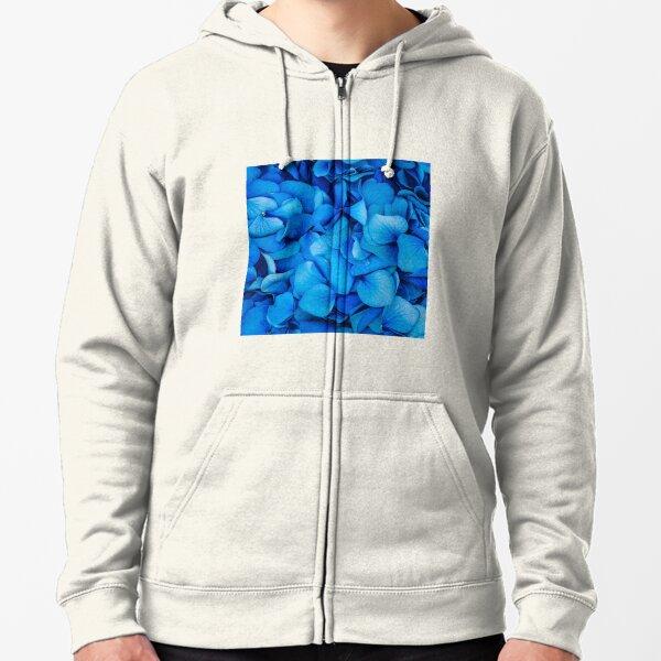 Beautiful Royal Blue Hydrangeas Zipped Hoodie