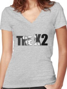 The K2 Lettering Women's Fitted V-Neck T-Shirt