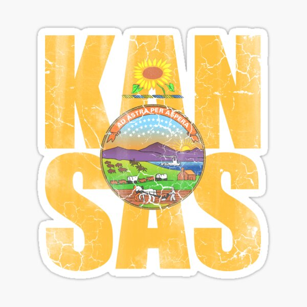 Vintage Kansas Flag Stacked Sticker