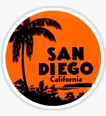 San Diego California Vintage Travel Decal Round Sticker