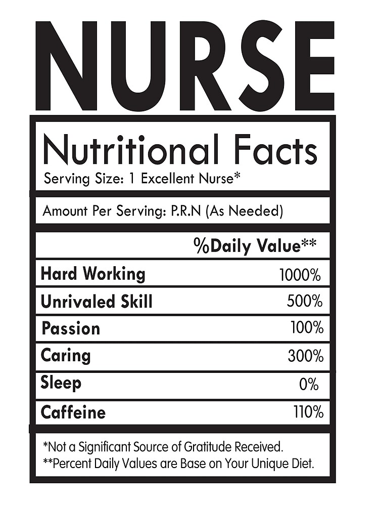 ea5f323b NURSE Nutritional Facts T-Shirt