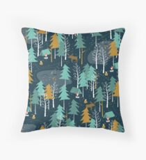 Winter Camping Throw Pillow