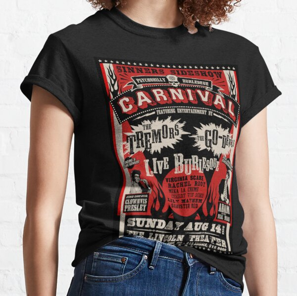 Psychobilly Burlesque Carnival Póster Camiseta clásica
