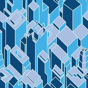 Blue Geometric Cityscape by arianazhang