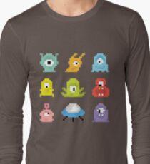 Pixel UFO aliens Long Sleeve T-Shirt