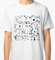 Funny ink splashes cats seamless background. Classic T-Shirt