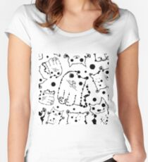 Funny ink splashes cats seamless background. Women's Fitted Scoop T-Shirt