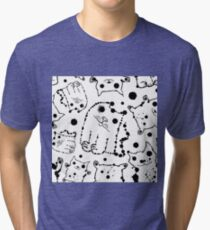 Funny ink splashes cats seamless background. Tri-blend T-Shirt