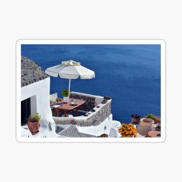 White architecture in Santorini, Greece Sticker