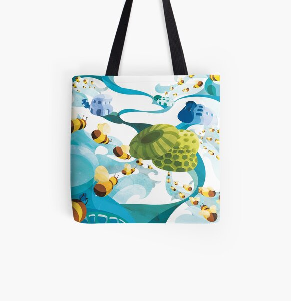 Bees All Over Print Tote Bag